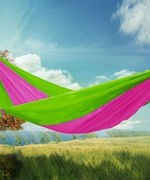 RioRand 2-Person Camping Parachute Hammock, Green/Rose Red