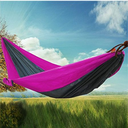 RioRand-2-Person-Portable-Outdoor-Double-Camping-Parachute-Hammocks984-Long-X-55-WideRose-red-Grey-0