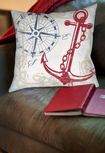 Thumbprintz Square IndoorOutdoor Pillow 16 Inch Anchors Away White 0 0