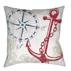 Thumbprintz Square IndoorOutdoor Pillow 16 Inch Anchors Away White 0 300x300