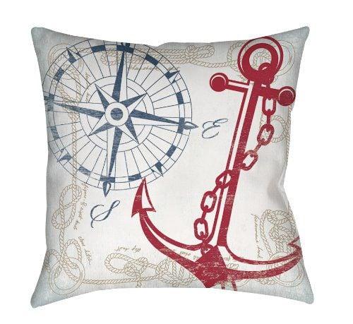 Thumbprintz Square IndoorOutdoor Pillow 16 Inch Anchors Away White 0