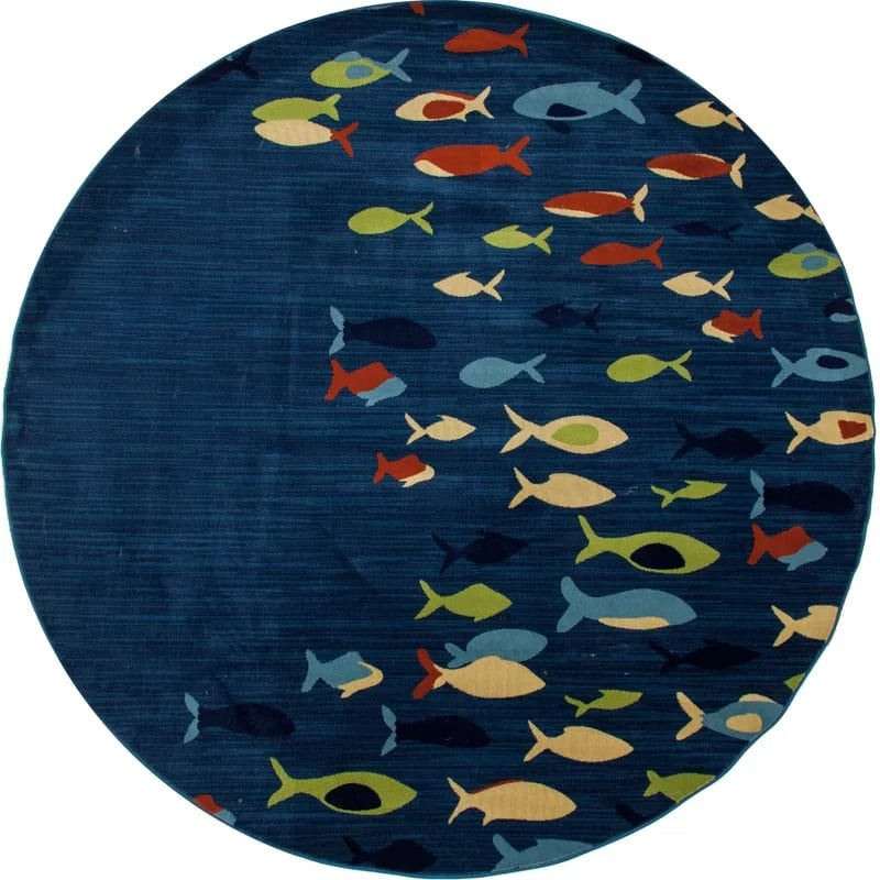 caeser-fish-school-navy-area-rug Nautical Rugs and Nautical Area Rugs