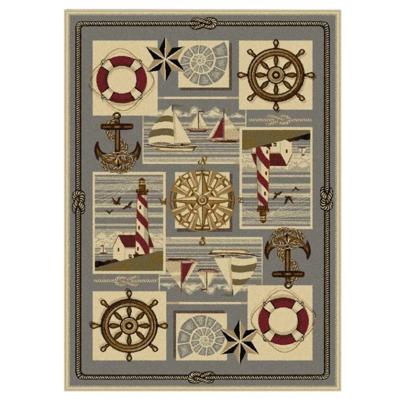gray-beige-nautical-themed-rug-800x800 Nautical Rugs and Nautical Area Rugs