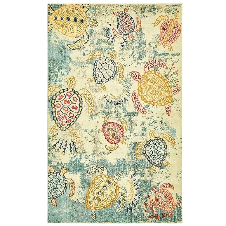 gwen-beige-turtle-area-rug Nautical Rugs and Nautical Area Rugs