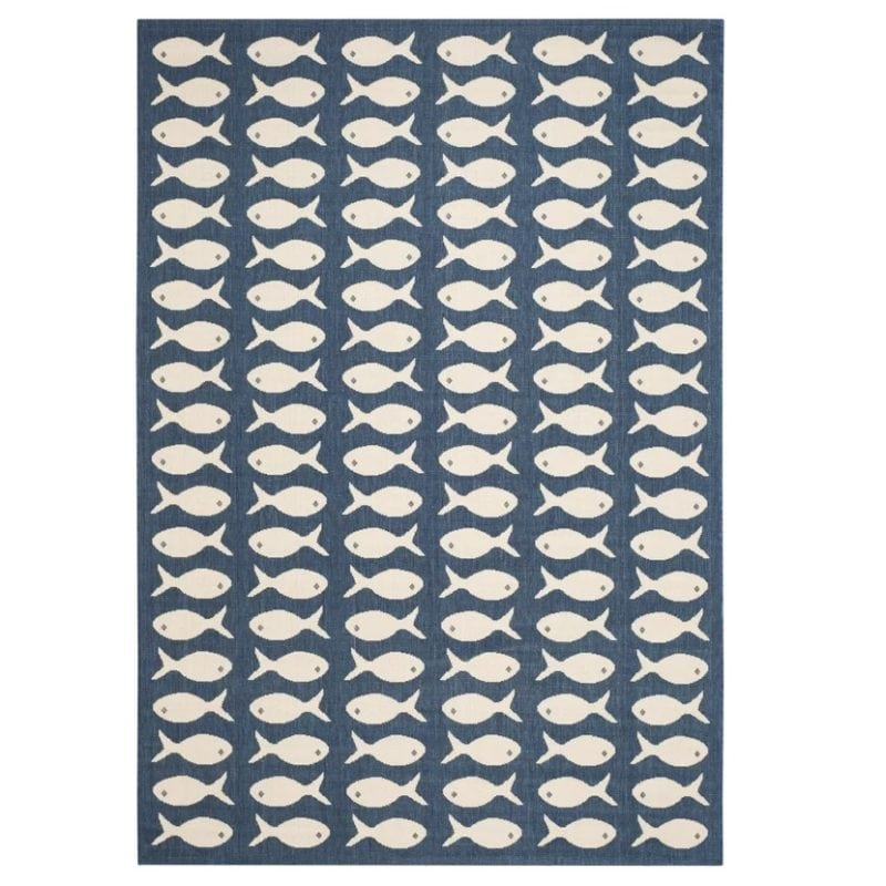 lake-park-navy-beige-fish-print-rug-800x800 Nautical Rugs and Nautical Area Rugs
