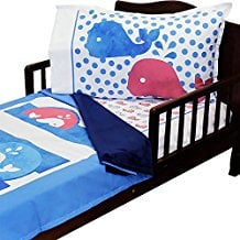 3pc-RoomCraft-Whale-Time-Toddler-Bedding-Set-Nautical Nautical Bedding Sets & Nautical Bedspreads