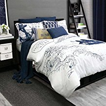 Alamode-Home-Shelburne-Queen-Full-Duvet-Cover-Set-Navy-White-Nautical Nautical Bedding Sets & Nautical Bedspreads