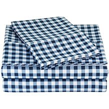 AmazonBasics-Microfiber-Sheet-Set-King-Gingham-Plaid Nautical Bedding Sets & Nautical Bedspreads