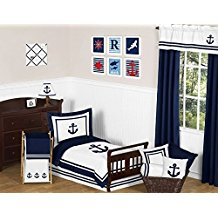 Anchors-Away-Nautical-Navy-and-White-Boys-Toddler-Bedding-5-Piece-Set Nautical Bedding Sets & Nautical Bedspreads