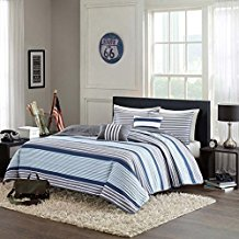 Blue-White-Gray-Nautical-Stripe-Boys-Full-Queen-Quilt Nautical Bedding Sets & Nautical Bedspreads