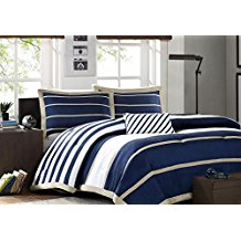 Blue-White-Khaki-Nautical-Stripe-Full-Queen-Comforter Nautical Bedding Sets & Nautical Bedspreads
