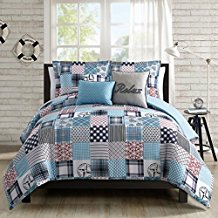 Coastal-Collection-5-Piece-Comforter-Set-Beach-House-Nautical-Patchwork Nautical Bedding Sets & Nautical Bedspreads