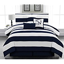 Legacy-Decor-5pc.-Microfiber-Nautical-Themed-Comforter-set-Navy-Blue-and-White-Striped-Twin-Size Nautical Bedding Sets & Nautical Bedspreads