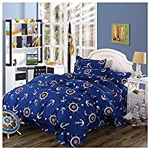 Moreover-4-Pieces-Navy-Blue-Anchor-Bedding-Cartoon-Anchor-Printing Nautical Bedding Sets & Nautical Bedspreads