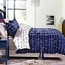 NTBAY-3-Pieces-Duvet-Cover-Set-Blue-Printed-Microfiber-Reversible-Design Nautical Bedding Sets & Nautical Bedspreads