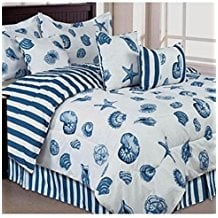 Seashells-Beach-Themed-Nautical-Queen-Comforter-Set-Toss-Pillows Nautical Bedding Sets & Nautical Bedspreads