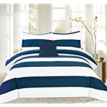 Sweet-Home-Collection-4Piece-Nautical-Stripe-Print-Reversible-Comforter-Set Nautical Bedding Sets & Nautical Bedspreads