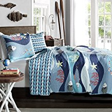 Tropical-Fish-Beach-House-Nautical-Cottage-Full-Queen-Quilt-Shams-Set Nautical Bedding Sets & Nautical Bedspreads