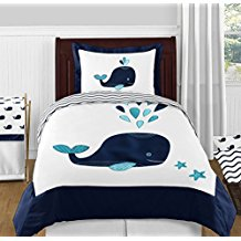 Turquoise-Navy-Blue-and-White-Whale-Nautical-Ocean-Boys-or-Girls-4-Piece-Kids-Teen-Twin-Bedding-Set-Collection Nautical Bedding Sets & Nautical Bedspreads