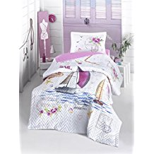 Voyage-Girls-bedding-set-Sailboats-Themed-100-Cotton-FullTwin-Size Nautical Bedding Sets & Nautical Bedspreads