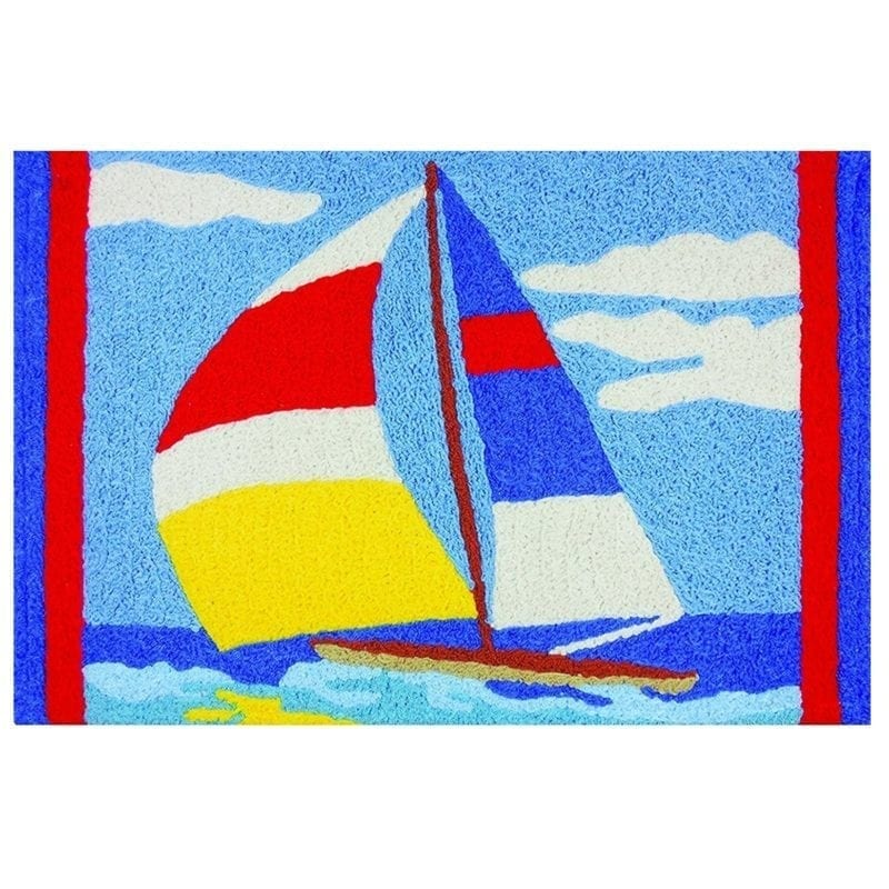 Sailboat-on-water-nautical-jellybean-area-rug-800x800 75+ Coastal Jellybean Rugs and Beach Jellybean Area Rugs For 2020