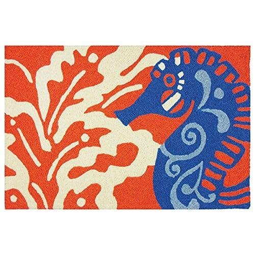 seahorse-on-coral-coastal-jellybean-rug 75+ Coastal Jellybean Rugs and Beach Jellybean Area Rugs For 2020