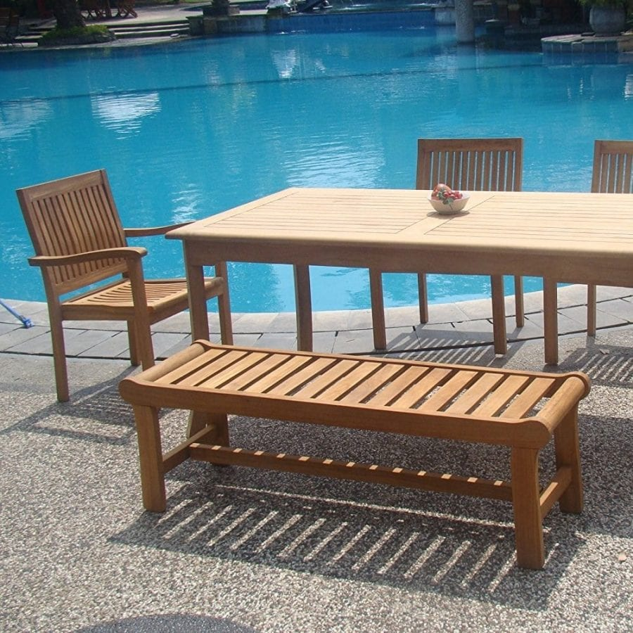 6-piece-teak-dining-set-with-backless-bench Best Teak Patio Furniture Sets