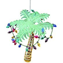 Glass-Tropical-Palm-Tree-Christmas-Ornament-by-Gallery-II Beach Christmas Ornaments and Nautical Christmas Ornaments