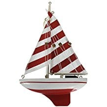 Hampton-Nautical-Red-Striped-Sailboat-Christmas-Tree-Ornament Beach Christmas Ornaments and Nautical Christmas Ornaments