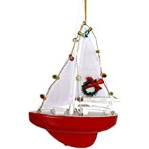 Sailboat-with-Lights-and-Wreath-Christmas-Ornament Beach Christmas Ornaments and Nautical Christmas Ornaments