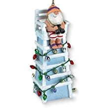 Tiki-Ocean-Beach-Santa-Lifeguard-Christmas-Ornament Beach Christmas Ornaments and Nautical Christmas Ornaments