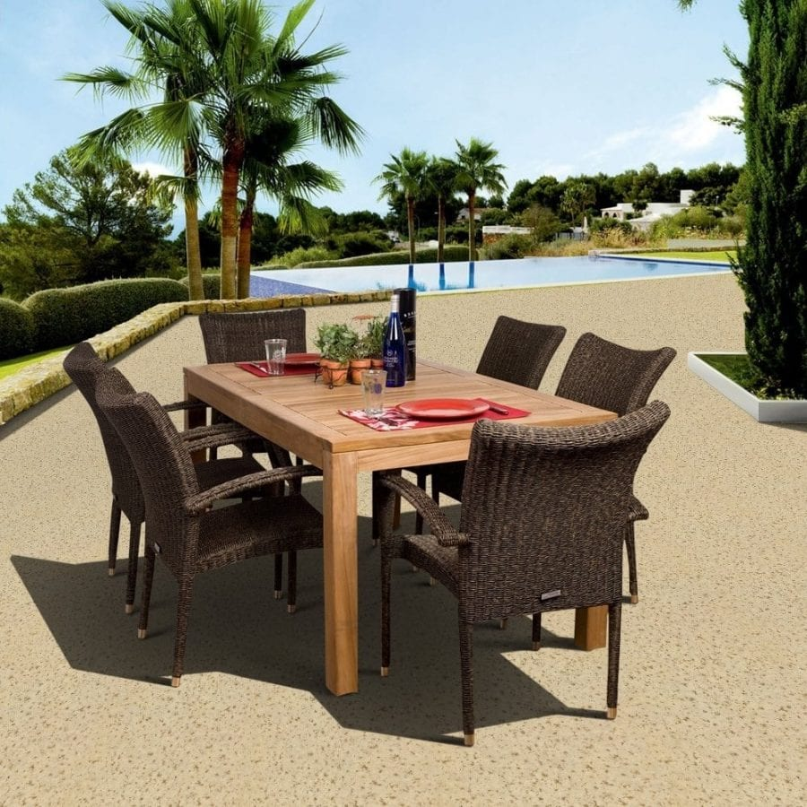 amazonia-teak-brussels-teak-wood-dining-set Best Teak Patio Furniture Sets