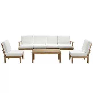 beachcrest-home-7-piece-deep-teak-seating-set Best Teak Patio Furniture Sets