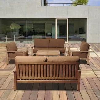 beachcrest-home-elsmere-5-piece-teak-seating-set Best Teak Patio Furniture Sets