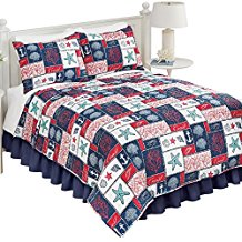 catalina-coastal-navy-red-and-white-starfish-quilt 50+ Starfish Bedding Sets and Starfish Quilt Sets