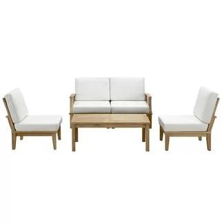 elaina-teak-5-piece-deep-seating-group Best Teak Patio Furniture Sets