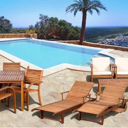 elsmere-13-piece-eucalyptis-lounge-seating-group Best Teak Patio Furniture Sets