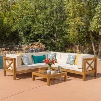 lark-manor-lejeune-outdoor-teak-seating-set Best Teak Patio Furniture Sets