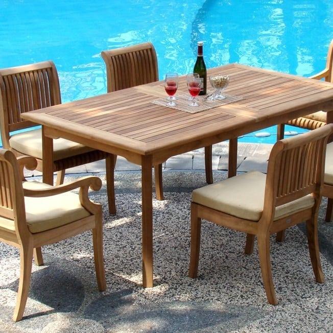 luxurious-grade-a-7-piece-teak-dining-set Best Teak Patio Furniture Sets