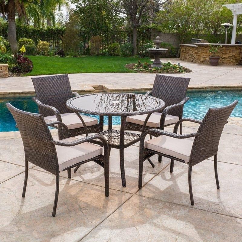 outdoor-brown-wicker-5-piece-dining-set-5-7-800x800 Best Wicker Patio Furniture Sets