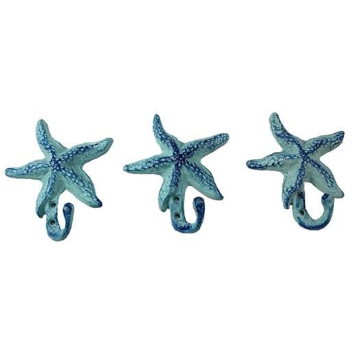 starfish-wall-hook-set-of-3 Beach Wall Hooks & Beach Towel Hooks