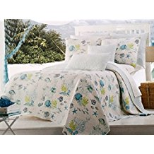 underwater-fish-starfish-green-and-white-quilt 50+ Starfish Bedding Sets and Starfish Quilt Sets