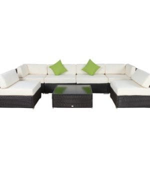 AuroFurniture 7-PC Cushioned Wicker Sectional