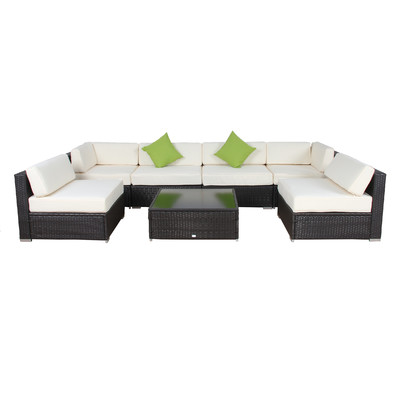 10-AuroFurniture-7PC-Cushioned-Wicker-Sectional Wicker Sectional Sofas
