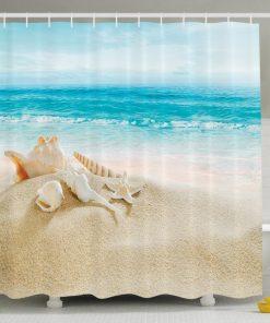 Conch and Seashell Beach Shower Curtain