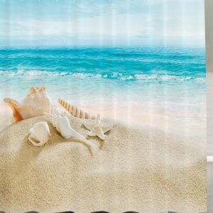 10-Conch-And-Seashell-Beach-Shower-Curtain-300x300 Beach Shower Curtains & Nautical Shower Curtains