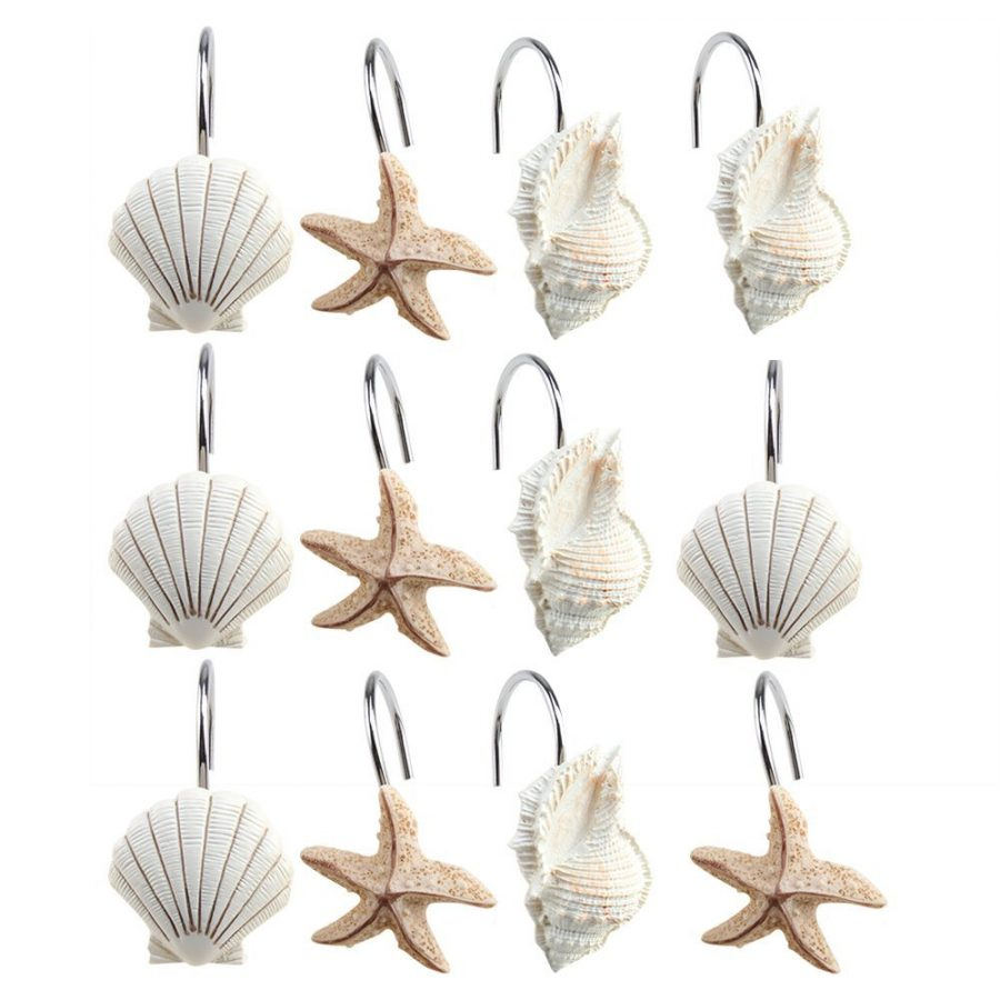 Scallop Starfish Conch Shower Curtain Hooks
