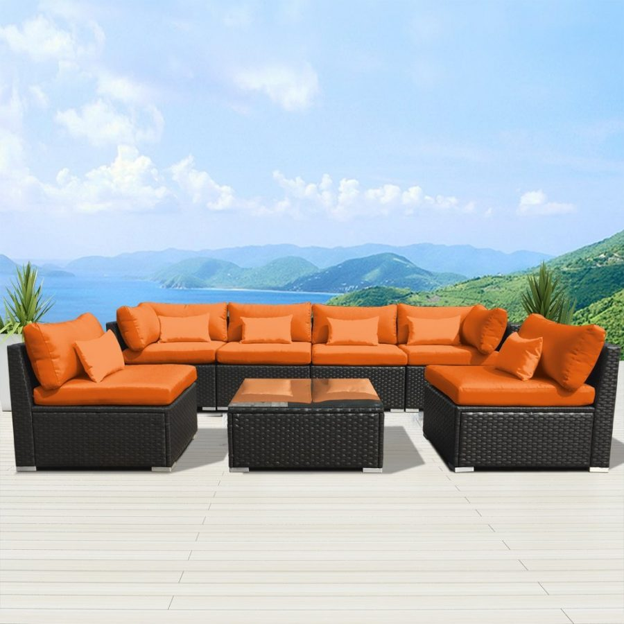Modenzi Outdoor Orange Wicker Sectional Sofa