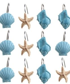 Blue and Sand Seashell Shower Curtain Hooks