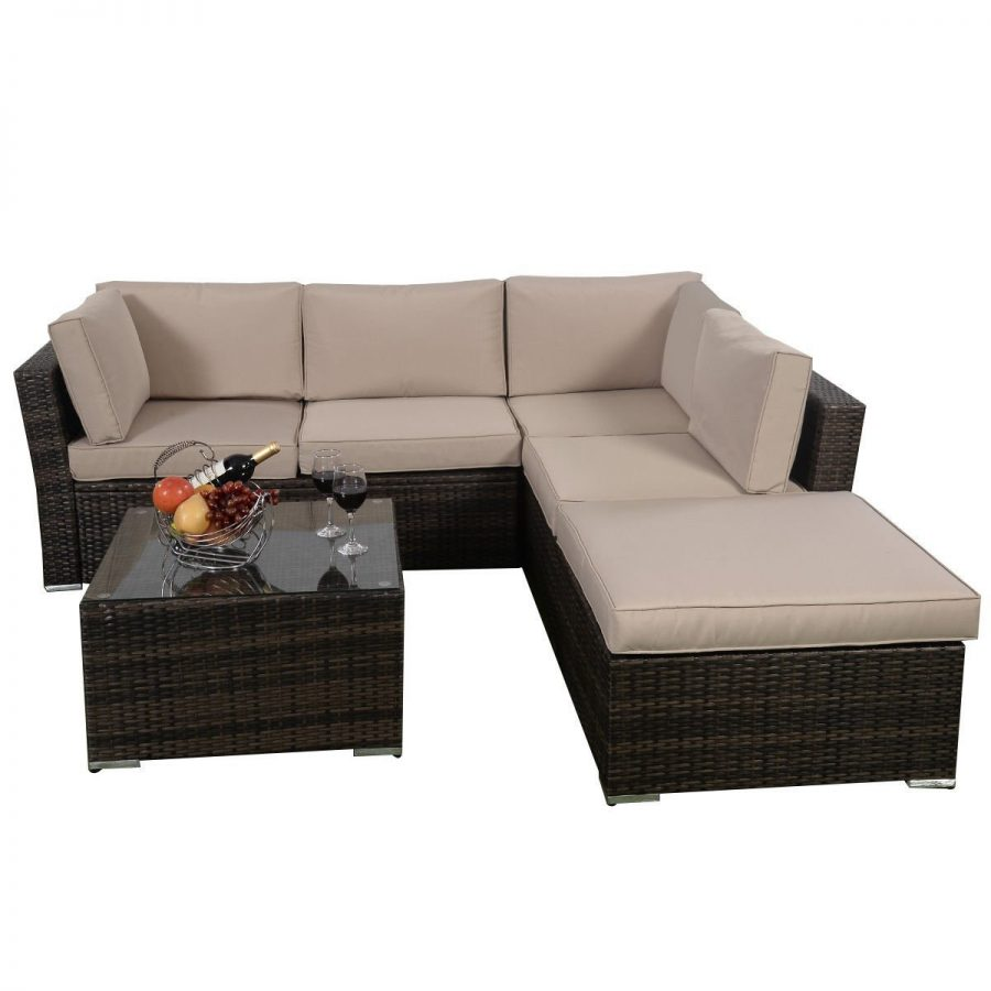 Giantex 4-PC Sectional Wicker PE Rattan Sofa